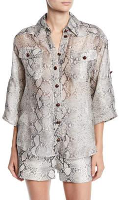 Zimmermann Corsage Safari Snake-Print Button-Front Shirt