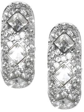 Kenneth Jay Lane Crystal Half Hoop Clip Earrings