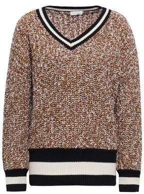 Brunello Cucinelli Intarsia-trimmed Marled Cotton-blend Sweater