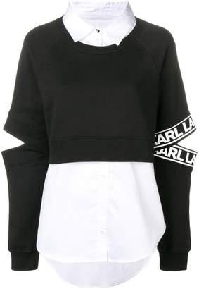 Karl Lagerfeld Paris Fabric Mix Shirt Sweatshirt