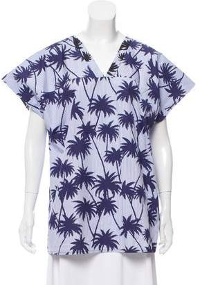 Tomas Maier Printed V-Neck Top w/ Tags