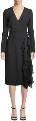 Derek Lam Long-Sleeve Wrap Dress w/ Ruffle Detail