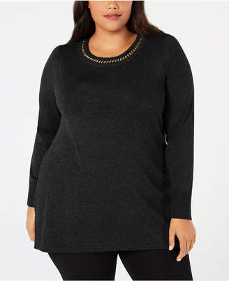 JM Collection Plus Size Chain-Detail Tunic Sweater