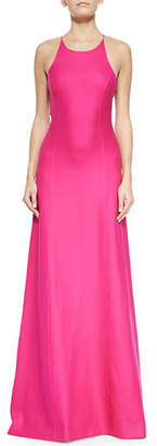 Michael Kors Open-Back Satin Gown, Geranium