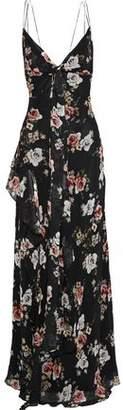 Nicholas Tie-front Ruffled Floral-print Silk-georgette Gown