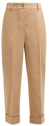Burberry Cotton Blend Twill Straight Leg Chino Trousers - Womens - Camel
