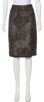 Oscar de la Renta Metallic Wool Skirt Brown Metallic Wool Skirt