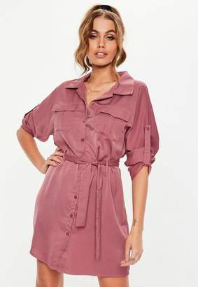 Missguided Rose Pink Tie Waist Utility Shirt Dress