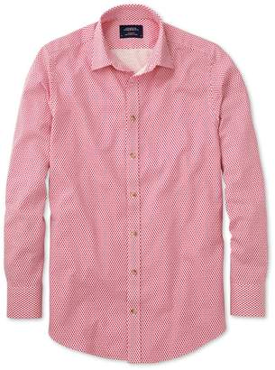 Charles Tyrwhitt Slim Fit Coral and White Print Cotton/linen Casual Shirt Single Cuff Size XS