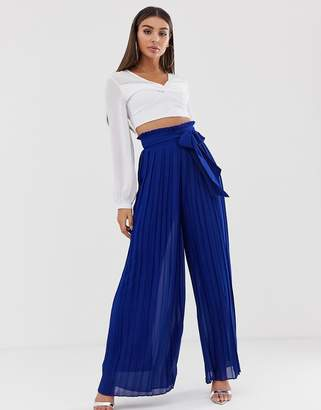 7bd02cb0cff1 TFNC pleated wide leg trousers with tie waist in cobalt