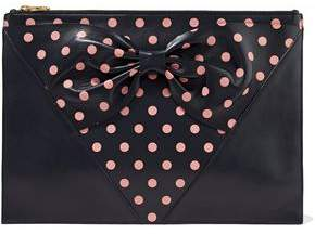 RED Valentino Bow-Embellished Polka-Dot Leather Clutch