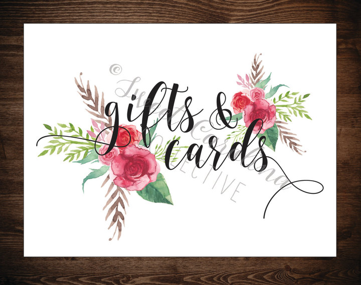 Etsy Floral Wedding Gifts and Cards Printable / DIY Instant Download / Gifts and Cards Printable / 8x10