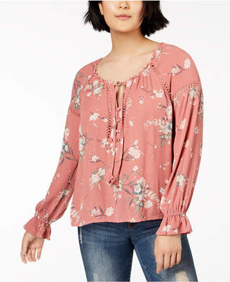 American Rag Juniors' Lace-Trim Poet Blouse