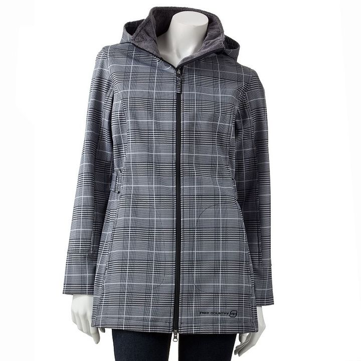 Free Country plaid hooded water-resistant soft shell jacket
