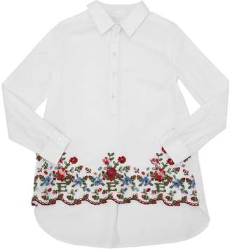 Ermanno Scervino Floral Embroidered Stretch Poplin Shirt