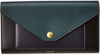 Celine Pocket Trifold Smooth Calfskin Leather Continental Wallet