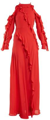 Elie Saab Ruffle Trimmed Silk Crepe Gown - Womens - Coral