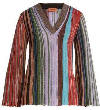 Missoni Vertical Stripe V Neck Long Sleeve Top - Womens - Multi