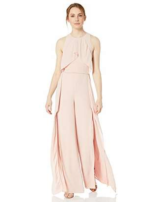 Halston Women's Sleeveless High-Neck Flowy Drape Front Jumpsuit