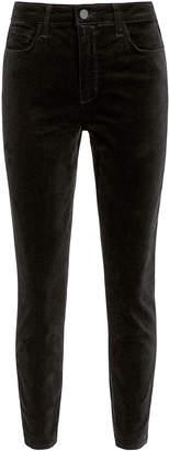 L'Agence Margot Black High-Rise Ankle Skinny Velvet Pants