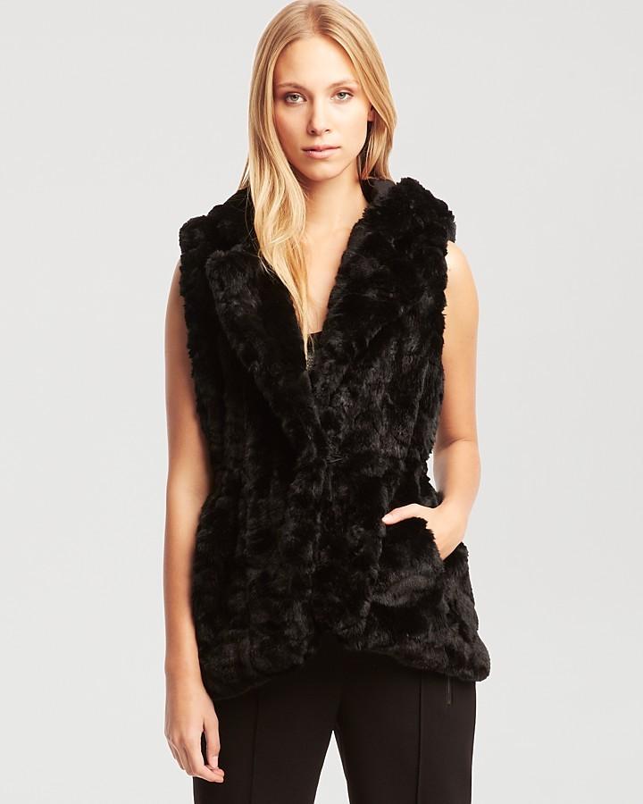 Kenneth Cole New York Anissa Black Faux Fur Vest