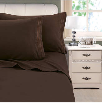Cathay Home Inc. 3-Line Stripe Embroidery 4-Pc. Queen Sheet Set Bedding