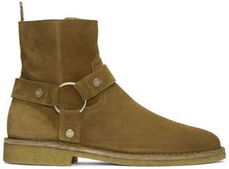 Saint Laurent Tan Suede Nevada Harness Boots