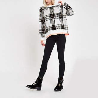 River Island Cream check crew neck sweater