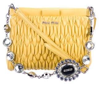 Miu Miu Matelassé Nappa Leather Crystal Shoulder Bag