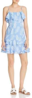Aqua Ruffled Palm Print Dress - 100% Exclusive