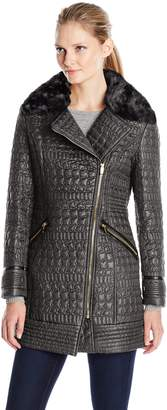 Via Spiga Women's Asymmetric Zip Front Quilted Jacket with Removable Faux Fur