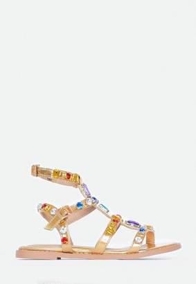 Missguided Gold Multi Coloured Jewel Gladiator sandals