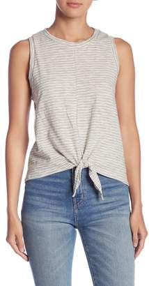 Lush Striped Tie Front Tank