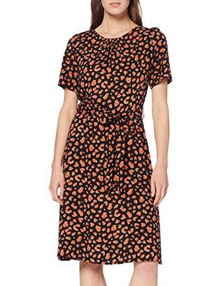 Dorothy Perkins Women's Amber Animal SS FIT and Flare Dress, (Black 010), (Size:)
