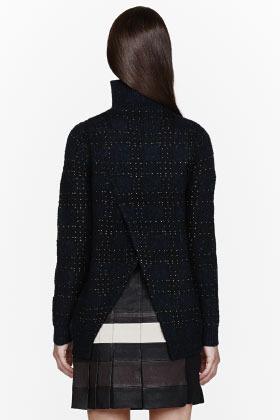 3.1 Phillip Lim Gold & Black Check Open-back sweater