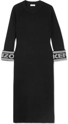 Kenzo Cotton-blend Midi Dress - Black