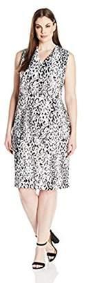 Calvin Klein Women's Plus Size Sleeveless V-Neck Sheath Dress with Back Zipper