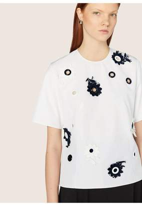 Derek Lam Short Sleeve Embroidered Top