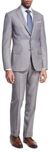 Brioni Brioni Houndstooth Super 160s Wool Two-Piece Suit, Black/White