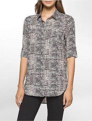 Calvin Klein Calvin Klein Womens Animal Roll-Up Sleeve Tunic Shirt