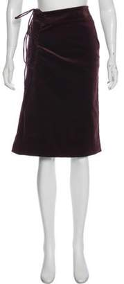 Gucci Ruche-Accented Knee-Length Skirt Brown Ruche-Accented Knee-Length Skirt