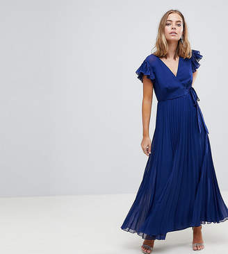 Asos Pleated Maxi Dress with Flutter Sleeve