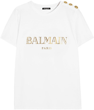 Balmain - Button-embellished Printed Cotton-jersey T-shirt - White $265 thestylecure.com
