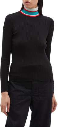 Proenza Schouler PSWL contrast stripe rib knit turtleneck sweater