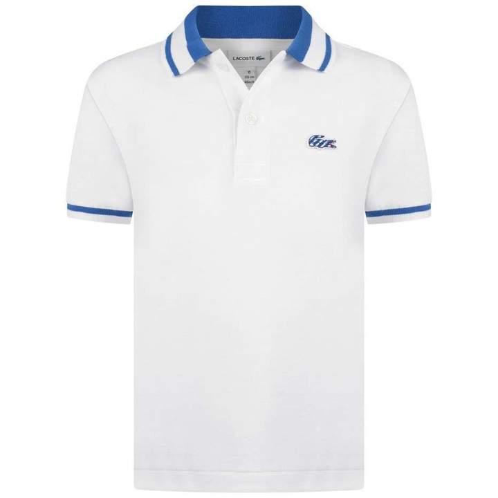 LacosteBoys White & Blue Polo Top