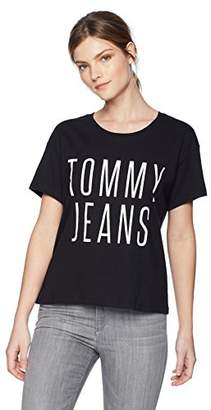 Tommy Hilfiger Tommy Jeans Women's T Shirt Short Sleeve Graphic Logo Crop Top