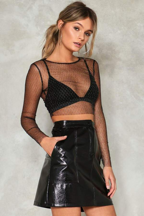 nastygal Diamond Dogs Mesh Crop Top