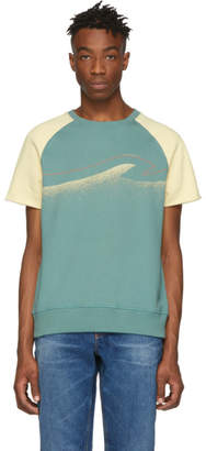 Nudie Jeans Off-White and Green Colors Sune T-Shirt