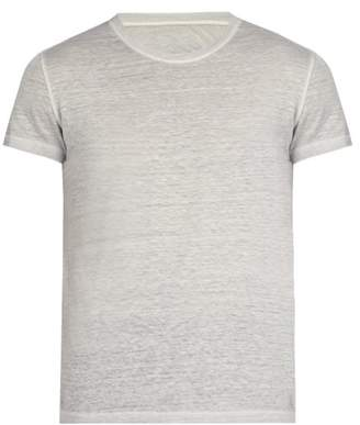 120% Lino Linen Crew Neck T Shirt - Mens - Grey