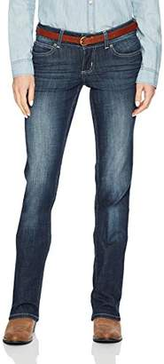 Wrangler Women's Premium Patch Mae Straight Leg Jean-Sits Above Hip